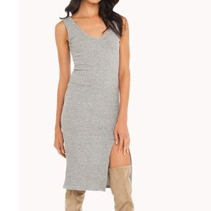 Akira Ribbed Thigh Slit Midi Dress
